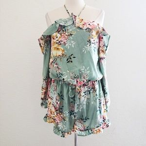Green Ruffle Floral Off the Shoulder Romper Size L